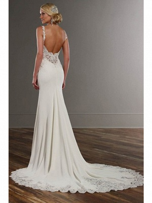 Mermaid \ Trumpet Wedding Dresses V Neck Chapel Train Lace Stretch Satin Spaghetti Strap See-Through Beautiful Back_2