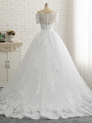 Ball Gown A-Line Wedding Dresses Off Shoulder Court Train Lace Tulle Lace Over Satin Short Sleeve Country Illusion Detail Backless_6
