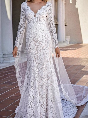 Mermaid \ Trumpet V Neck Sweep \ Brush Train Lace Long Sleeve Country Plus Size Wedding Dresses_1