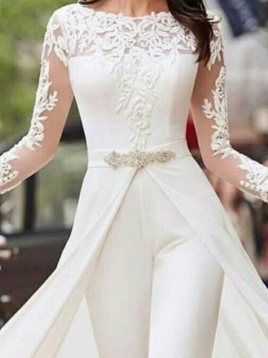 Two Piece Jumpsuits A-Line Wedding Dresses Jewel Neck Court Train Polyester Long Sleeve Formal Plus Size_2