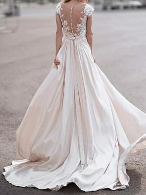 A-Line Wedding Dresses V Neck Sweep \ Brush Train Satin Cap Sleeve Romantic Illusion Detail_2