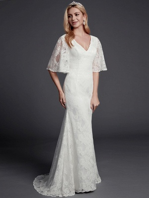Mermaid \ Trumpet Wedding Dresses V Neck Sweep \ Brush Train Lace Half Sleeve Beautiful Back_3