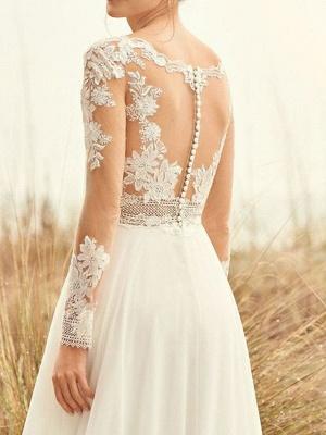 A-Line Wedding Dresses Bateau Neck Sweep \ Brush Train Chiffon Lace Long Sleeve Beach Boho Backless Illusion Sleeve_3
