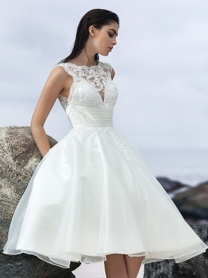 A-Line Wedding Dresses Bateau Neck Knee Length Organza Regular Straps Formal Casual Little White Dress Illusion Detail Backless_4
