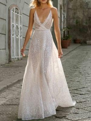 A-Line Wedding Dresses V Neck Sweep \ Brush Train Tulle Spaghetti Strap Boho Plus Size_1