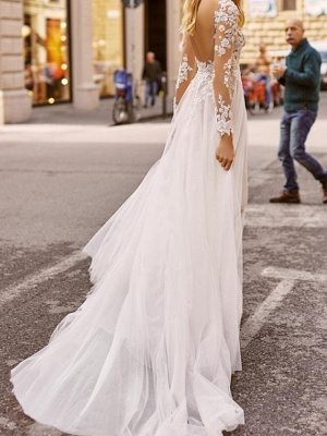 A-Line Wedding Dresses Plunging Neck Sweep \ Brush Train Lace Tulle Chiffon Over Satin Long Sleeve Country Plus Size_2