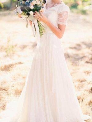 A-Line Wedding Dresses V Neck Sweep \ Brush Train Chiffon Lace Taffeta Cap Sleeve Country Plus Size_3