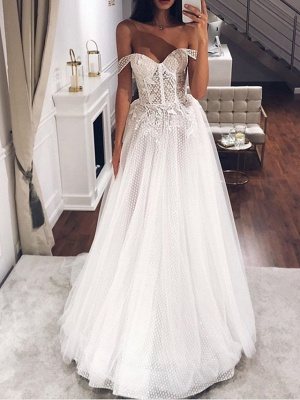 A-Line Off Shoulder Sweep \ Brush Train Tulle Short Sleeve Country Plus Size Wedding Dresses_1