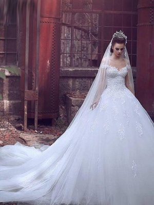 Ball Gown Wedding Dresses Off Shoulder Sweep \ Brush Train Lace Tulle Short Sleeve Glamorous Illusion Detail_1