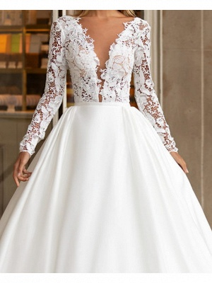 A-Line Wedding Dresses V Neck Floor Length Polyester Long Sleeve Formal Plus Size Illusion Sleeve_2