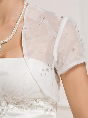 Princess A-Line Wedding Dresses Strapless Court Train Organza Satin Sleeveless_9