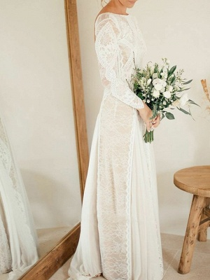 A-Line Wedding Dresses Jewel Neck Sweep \ Brush Train Chiffon Lace Long Sleeve Beach Boho Sexy_5