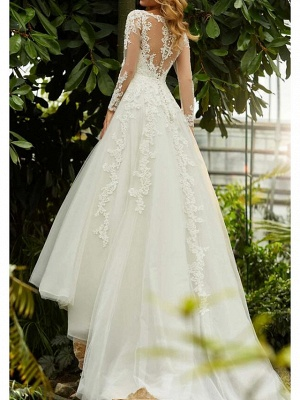 A-Line Wedding Dresses V Neck Sweep \ Brush Train Lace Tulle Long Sleeve Formal_2
