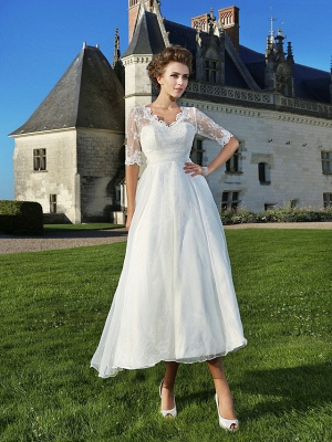 A-Line Wedding Dresses V Neck Ankle Length Organza Sheer Lace Half Sleeve Country Casual Vintage See-Through Illusion Sleeve_2