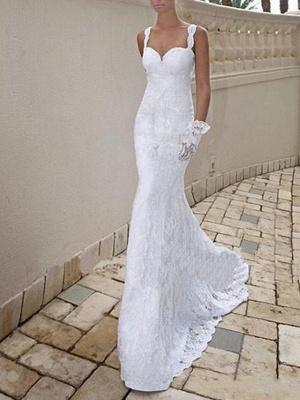 Mermaid \ Trumpet Wedding Dresses Scoop Neck Sweep \ Brush Train Lace Taffeta Chiffon Over Satin Sleeveless Sexy Plus Size_2