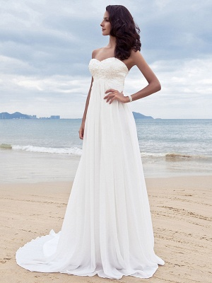 A-Line Wedding Dresses Sweetheart Neckline Court Train Chiffon Strapless Simple Beach Plus Size_3