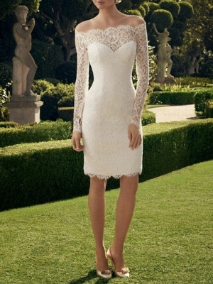 Sheath \ Column Wedding Dresses Off Shoulder Short \ Mini Lace Long Sleeve Vintage See-Through Illusion Sleeve_2