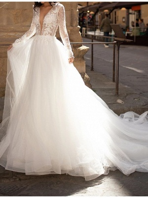 A-Line Wedding Dresses Plunging Neck Court Train Lace Tulle Long Sleeve Country Plus Size_1