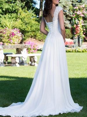 A-Line Wedding Dresses V Neck Court Train Chiffon Cap Sleeve_2