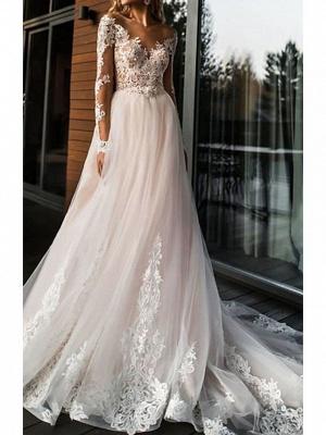 A-Line Wedding Dresses V Neck Sweep \ Brush Train Lace Tulle Long Sleeve Romantic Boho Illusion Sleeve_1