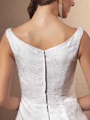 A-Line Wedding Dresses Bateau Neck Chapel Train All Over Floral Lace Regular Straps_8