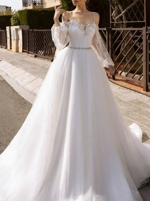 A-Line Wedding Dresses Spaghetti Strap Sweep \ Brush Train Lace Tulle Sequined Long Sleeve Formal Backless_1