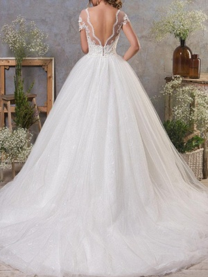 A-Line Wedding Dresses Jewel Neck Court Train Lace Tulle Short Sleeve Vintage Sexy See-Through Backless_2