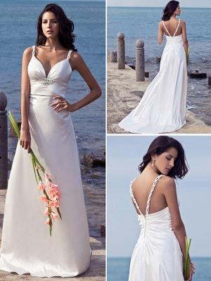 Sheath \ Column Wedding Dresses Sweetheart Neckline Sweep \ Brush Train Stretch Satin Spaghetti Strap Open Back_2