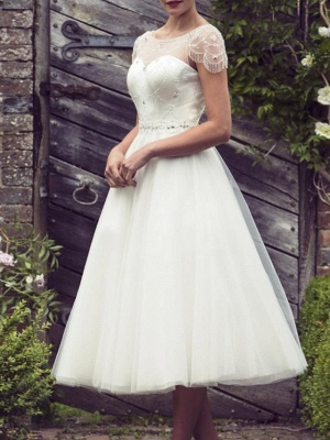 A-Line Wedding Dresses Jewel Neck Tea Length Satin Tulle Short Sleeve Vintage Sexy Wedding Dress in Color See-Through_2