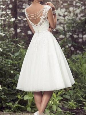 A-Line Wedding Dresses V Neck Tea Length Lace Tulle Cap Sleeve Vintage Plus Size_2
