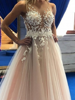 A-Line Wedding Dresses Jewel Neck Floor Length Lace Tulle Sleeveless Sexy Wedding Dress in Color See-Through_2