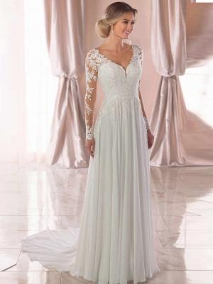 A-Line Wedding Dresses V Neck Chapel Train Chiffon Satin Long Sleeve Romantic Illusion Sleeve_4