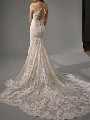 Sheath \ Column Wedding Dresses Jewel Neck Chapel Train Lace Sleeveless Sexy Wedding Dress in Color_4
