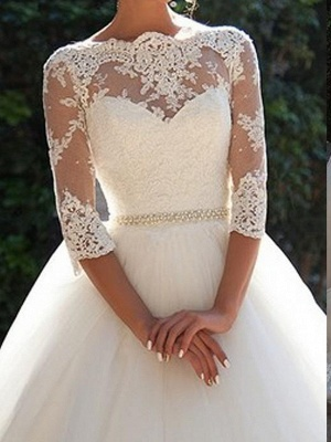 A-Line Wedding Dresses Off Shoulder Court Train Lace 3\4 Length Sleeve Casual Beach Vintage Illusion Sleeve_3