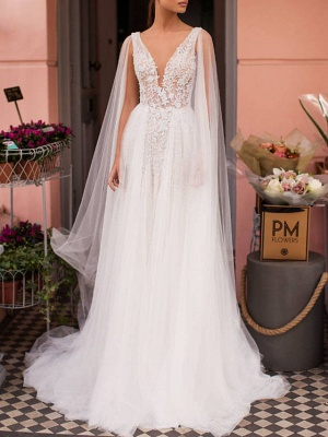 A-Line Wedding Dresses V Neck Sweep \ Brush Train Lace Tulle Regular Straps Casual Beach Sexy See-Through Backless Cape_1