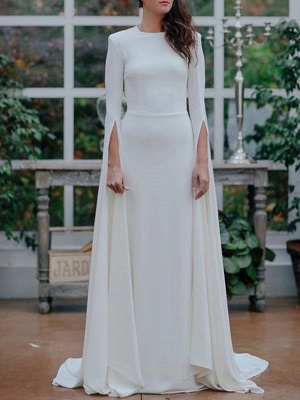 A-Line Wedding Dresses Jewel Neck Sweep \ Brush Train Satin Long Sleeve Formal Plus Size_1