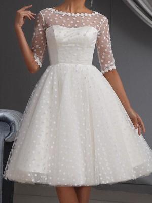 A-Line Wedding Dresses Jewel Neck Knee Length Lace Tulle Half Sleeve Vintage Little White Dress 1950s_2