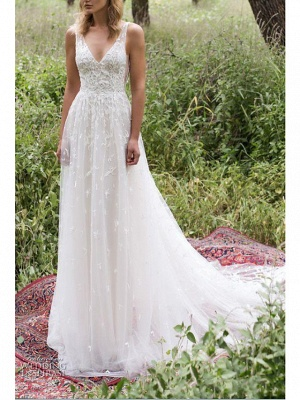 A-Line Wedding Dresses V Neck Sweep \ Brush Train Lace Tulle Sleeveless Country Plus Size_2