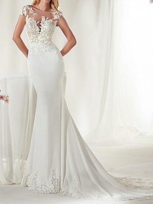 Mermaid \ Trumpet Wedding Dresses Jewel Neck Court Train Satin Cap Sleeve Sexy See-Through Illusion Detail_1