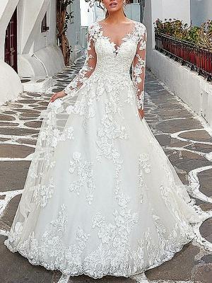 A-Line Wedding Dresses V Neck Sweep \ Brush Train Tulle Long Sleeve_1