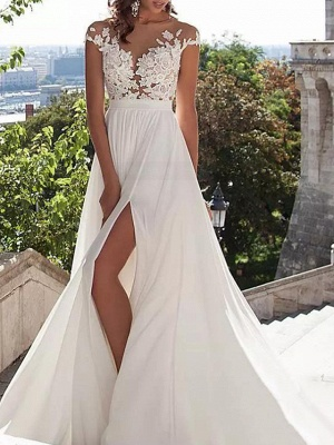 A-Line Wedding Dresses Jewel Neck Sweep \ Brush Train Lace Stretch Satin Cap Sleeve Casual Beach Boho Plus Size_1