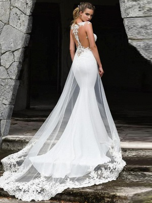 Mermaid \ Trumpet Off Shoulder Court Train Lace Satin Tulle Sleeveless Sexy See-Through Wedding Dresses_2