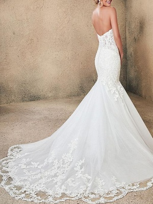 Mermaid \ Trumpet Strapless Sweep \ Brush Train Lace Tulle Sleeveless Formal Sexy Backless Wedding Dresses_2