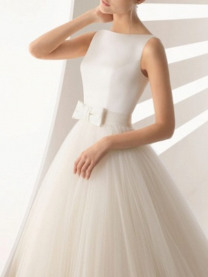 Ball Gown Wedding Dresses Bateau Neck Sweep \ Brush Train Satin Tulle Regular Straps Simple Backless_3