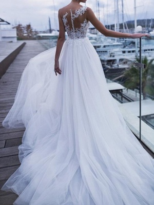 A-Line Wedding Dresses Scoop Neck Sweep \ Brush Train Polyester Sleeveless Country Plus Size_2