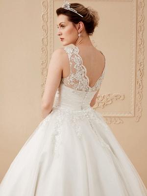 A-Line Wedding Dresses High Neck Ankle Length Lace Over Tulle Regular Straps Vintage Little White Dress Illusion Detail_14