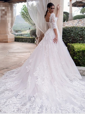 A-Line Off Shoulder Court Train Lace 3\4 Length Sleeve Country Illusion Sleeve Wedding Dresses_2