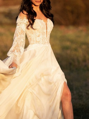 A-Line Wedding Dresses Off Shoulder Court Train Lace Satin Long Sleeve_2