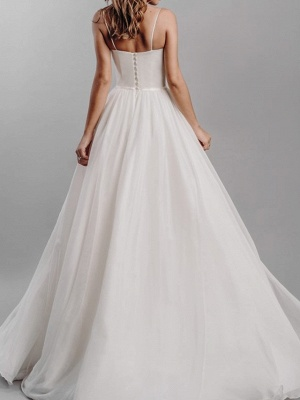 A-Line Wedding Dresses Spaghetti Strap Sweep \ Brush Train Silk Chiffon Over Satin Sleeveless Simple Beach_5