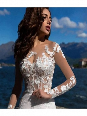 Mermaid \ Trumpet Wedding Dresses Bateau Neck Court Train Lace Tulle Lace Over Satin Long Sleeve Sexy See-Through Backless Illusion Sleeve_4